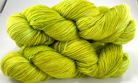 "Hand Dyed Yarn ""Sprung"" Lime Chartreuse Green Yellow Gold Merino Fine Fingering Singles SW 465 yds 115"