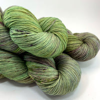 "Hand Dyed Yarn ""Evenfall"" Green Olive Sage Spruce Grey Purple Violet Brown Speckled Merino Heavy Lace Superwash 822yds 150 g"