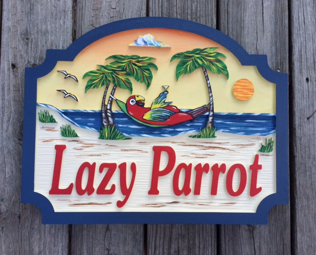 Beach House Signs - Parrot, Personalized House Signs (BH30)