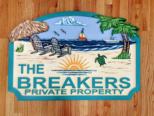 Beach House Signs - Chairs, Personalized House Sign BH58