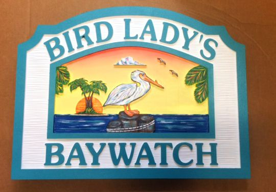 Beach House Signs with Pelican, Personalized House Signs (BH23)
