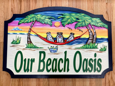 Beach House Signs Hammock Dogs Personalized House Signs BH82