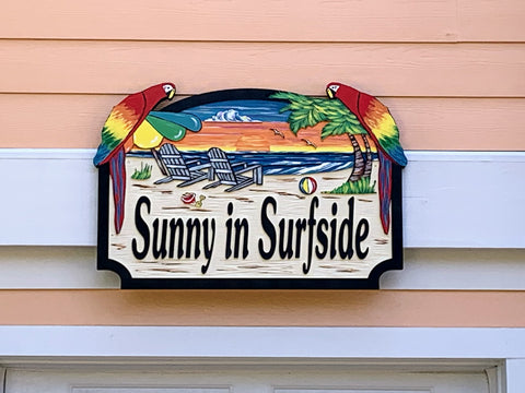 Beach House Signs - Parrots, Personalized House Signs (BH48)