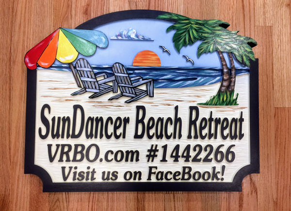 Beach House Signs with chairs , Personalized House Signs BH03