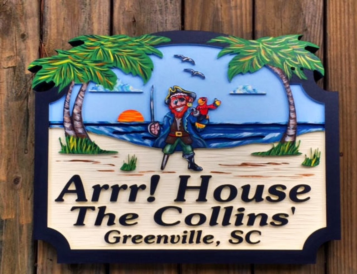 Beach House Signs with Pirate, Personalized House Signs BH01
