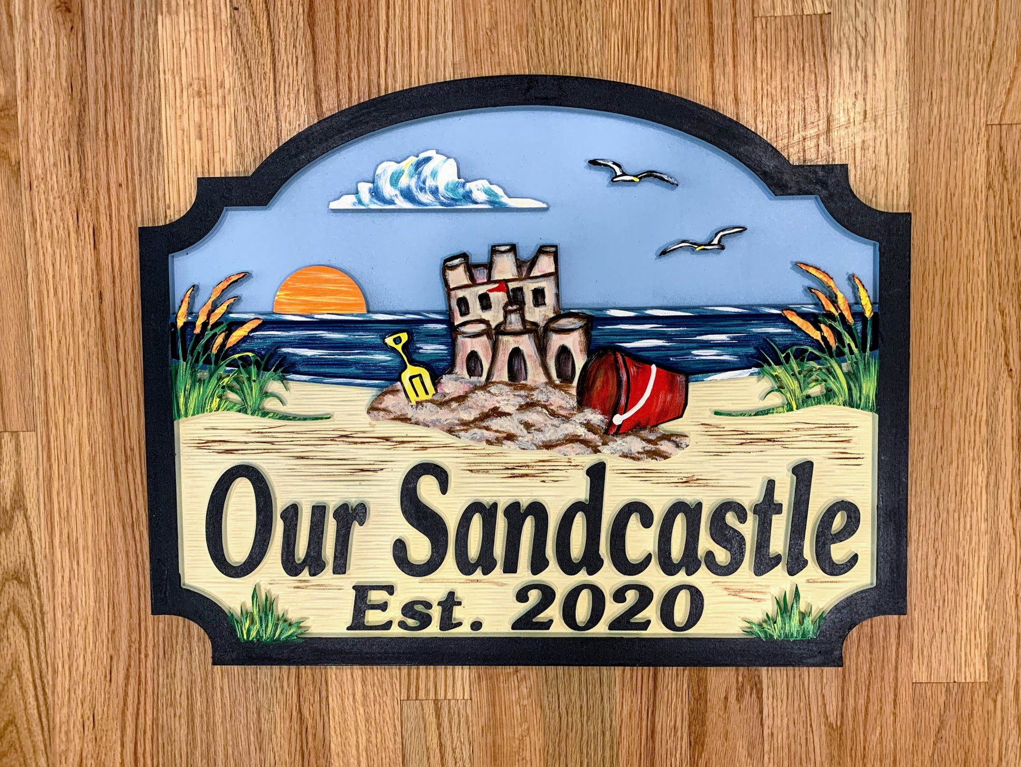 Beach House Signs - Sandcastle, Personalized House Signs (BH43)