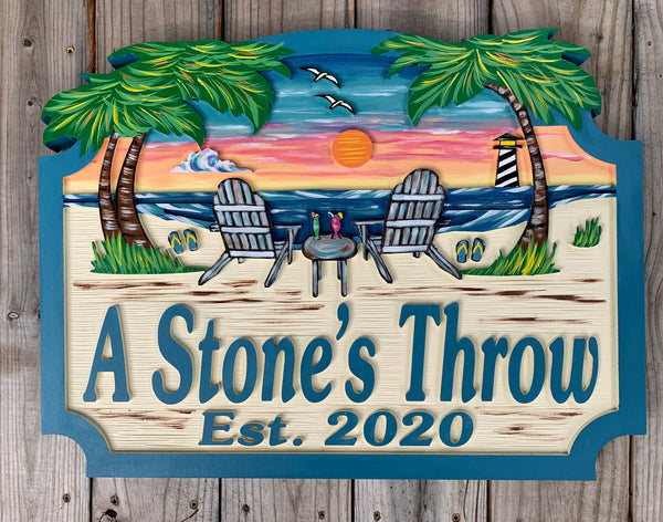 Beach House Signs with Chairs Personalized House Signs BH13