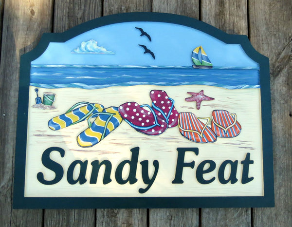 Beach House Signs - Flip Flops, Personalized House Signs BH68