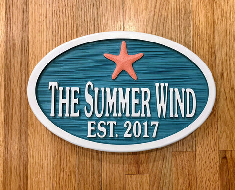 Beach House Signs with Starfish, Personalized House Signs BH08