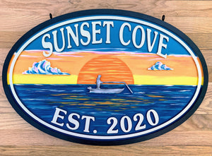Beach House Signs - Fishing Boat,  Personalized House Signs (BH41)