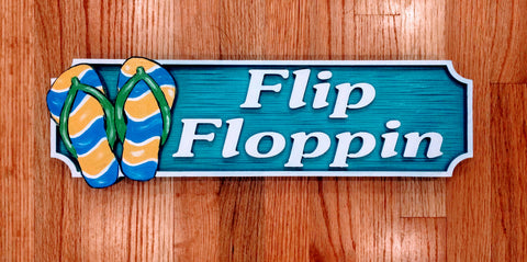 Beach House Signs - Flip Flops - Personalized House Signs - BH76