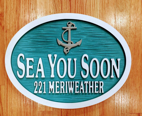 Beach House Signs - Anchor, Personalized House Signs - TC01