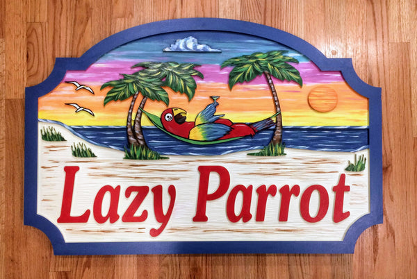 Beach House Signs - Parrot, Personalized House Signs (BH29)