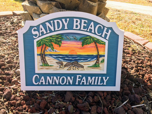 Beach House Signs - Birds, Personalized House Signs BH35