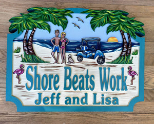Beach House Signs - Golf Cart, Personalized House Signs - BH55