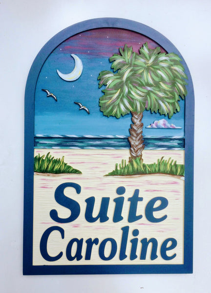 Palmetto Moon Beach House Signs,  Personalized House Signs (BH50)