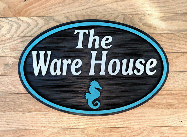 Beach House Signs - Seahorse,  Personalized House Signs BH74