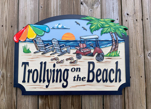 Beach House Signs - Golf Cart, Personalized House Signs - BH73