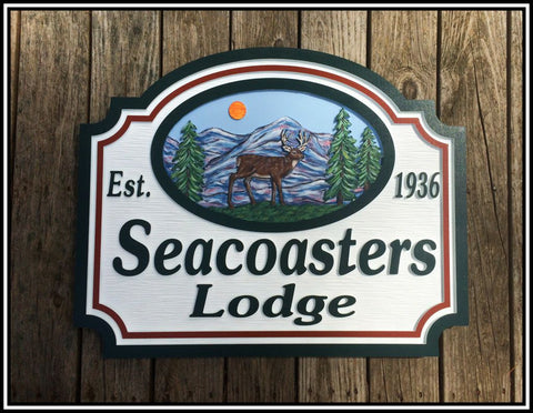 Mountain House Signs with Deer, Personalized House Signs (MH01)