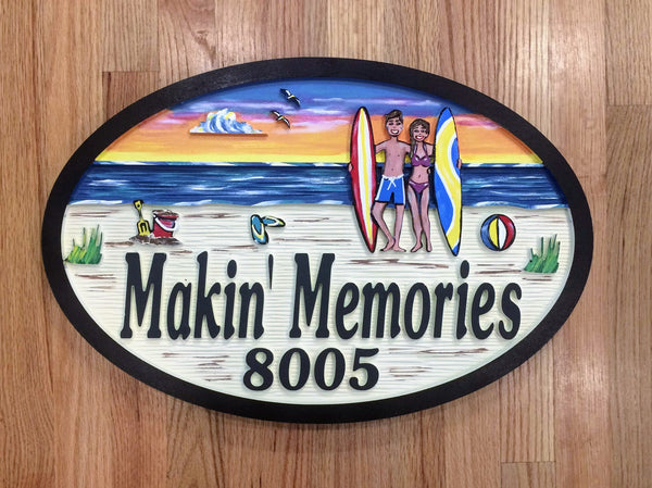 Beach House Signs - Surfing,  Personalized House Signs (BH31)