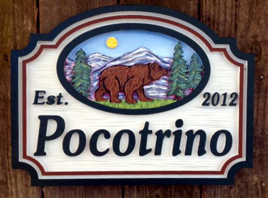 Mountain House Signs with Bear,  Personalized House Signs (MH02)