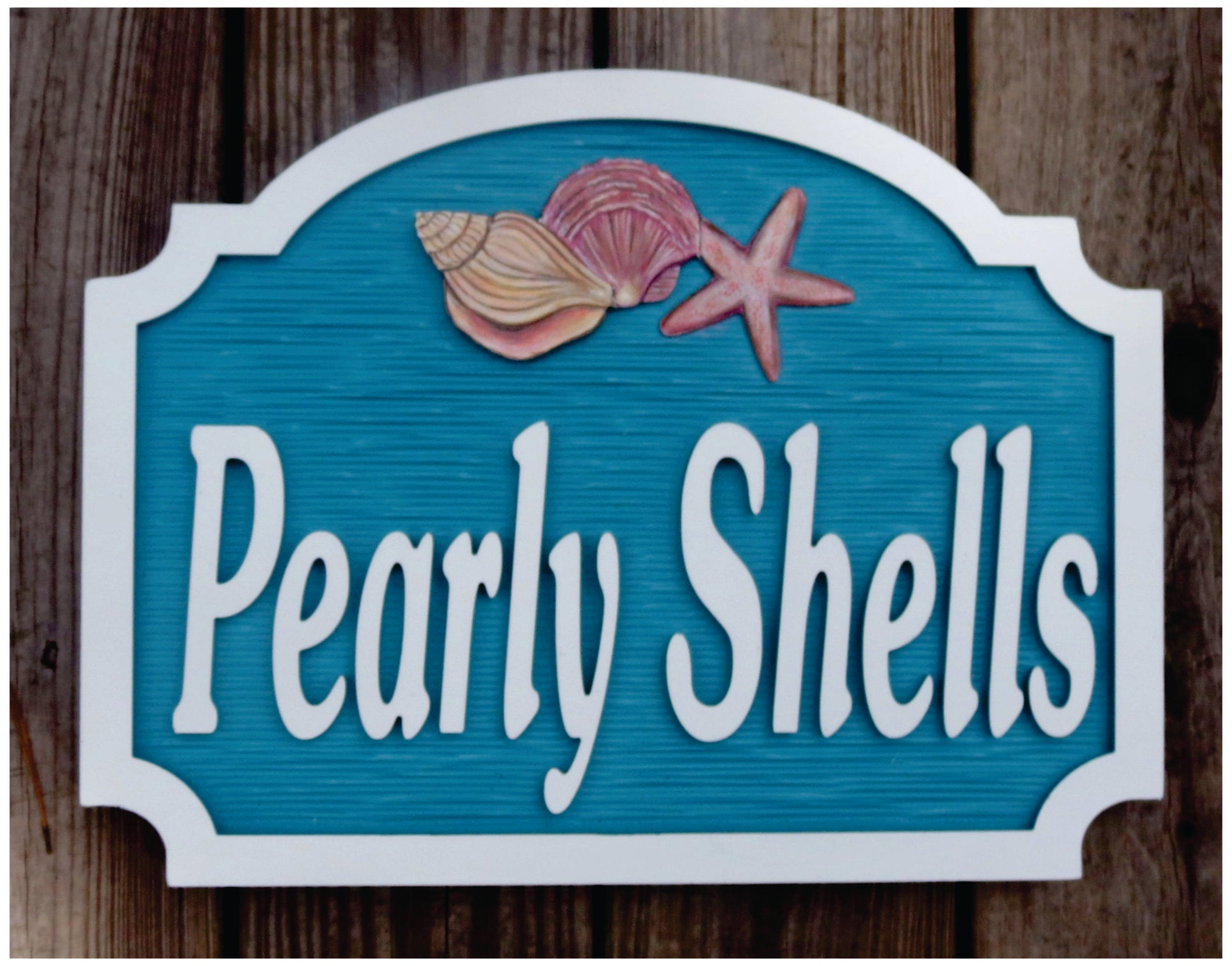 Beach House Signs - Shells, Personalized House Signs (BH33)