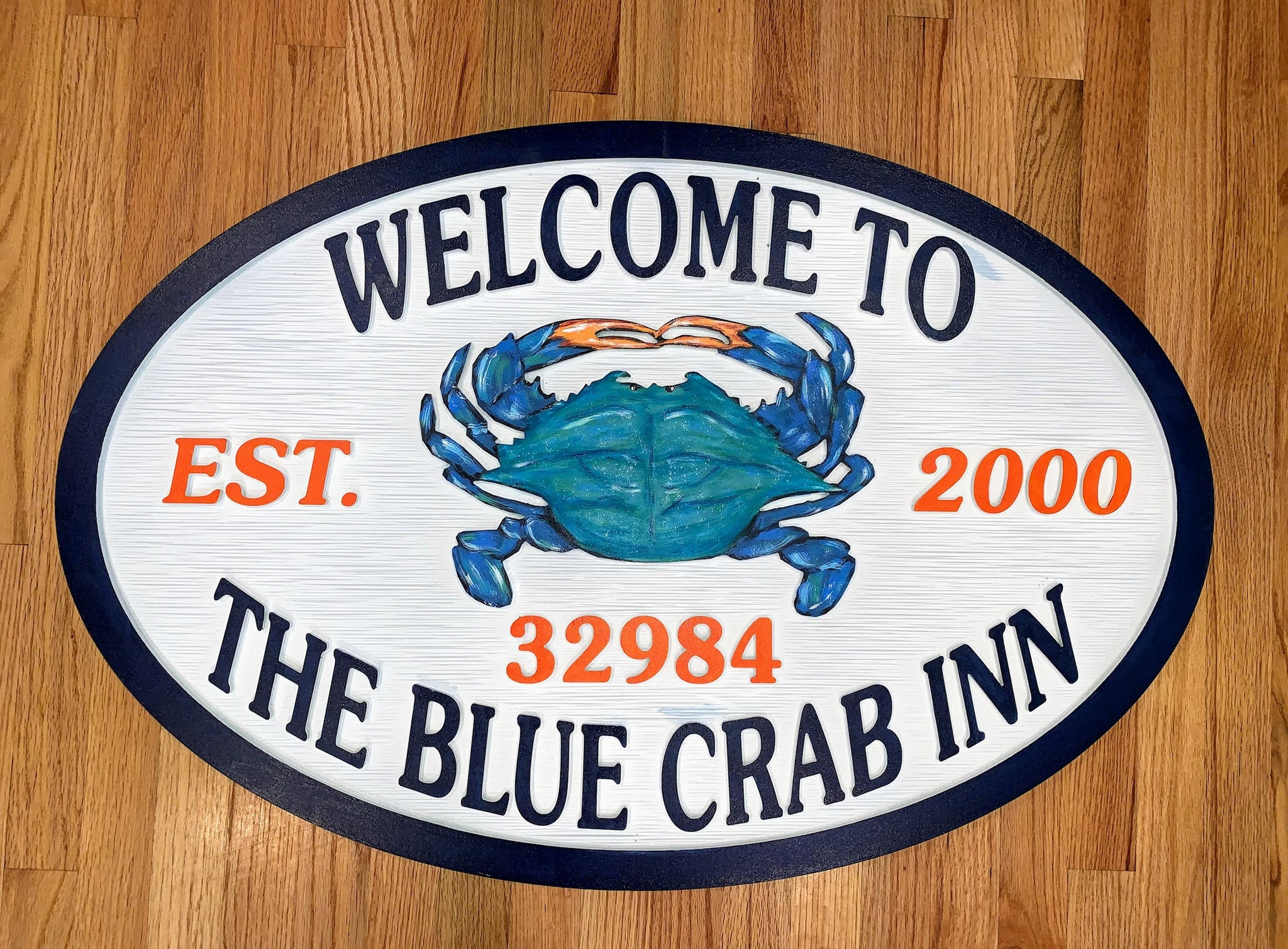 Beach House Signs, Blue Crab, Personalized House Signs - BH56