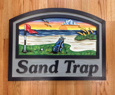 Beach House Signs - Golf, Personalized House Signs (BH38)