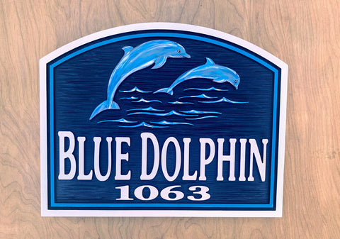 Beach House Signs - Dolphin, Personalized House Signs - BH83
