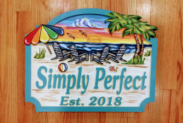 Beach House Signs with Chairs  Personalized House Signs BH10