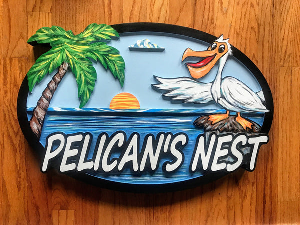 Beach House Signs, Pelican , Personalized House Signs BH54