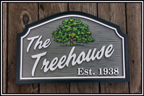 Misc. Sign with Oak Tree,  Personalized House Signs MS08