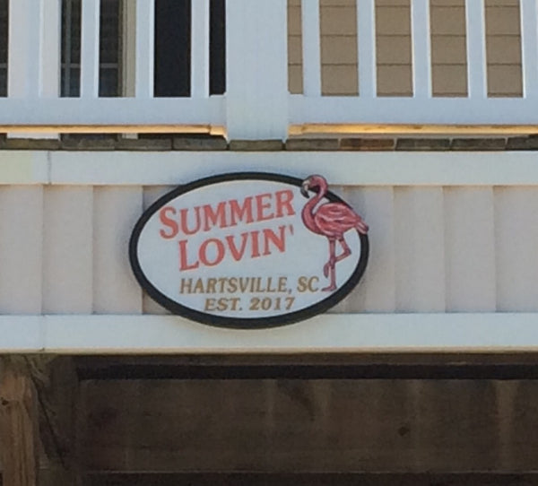 Beach House Signs - Flamingo, Personalized House Signs - BH59