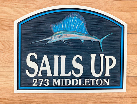 Beach House Signs - Sailfish, Personalized House Signs, BH57
