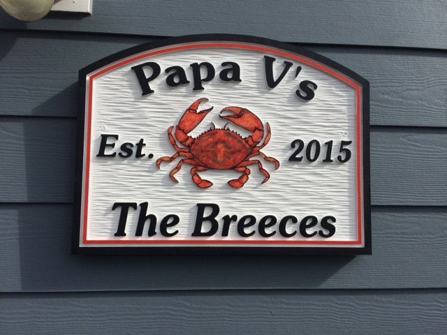 Beach House Signs with Crab, Personalized House Signs, (BH47)