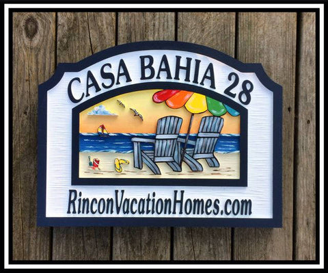 Beach House Signs with Chairs, Personalized House Signs BH06