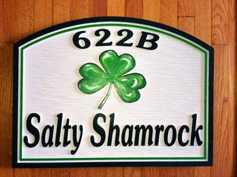 Beach House Signs with Shamrock, Personalized House Signs (BH24)