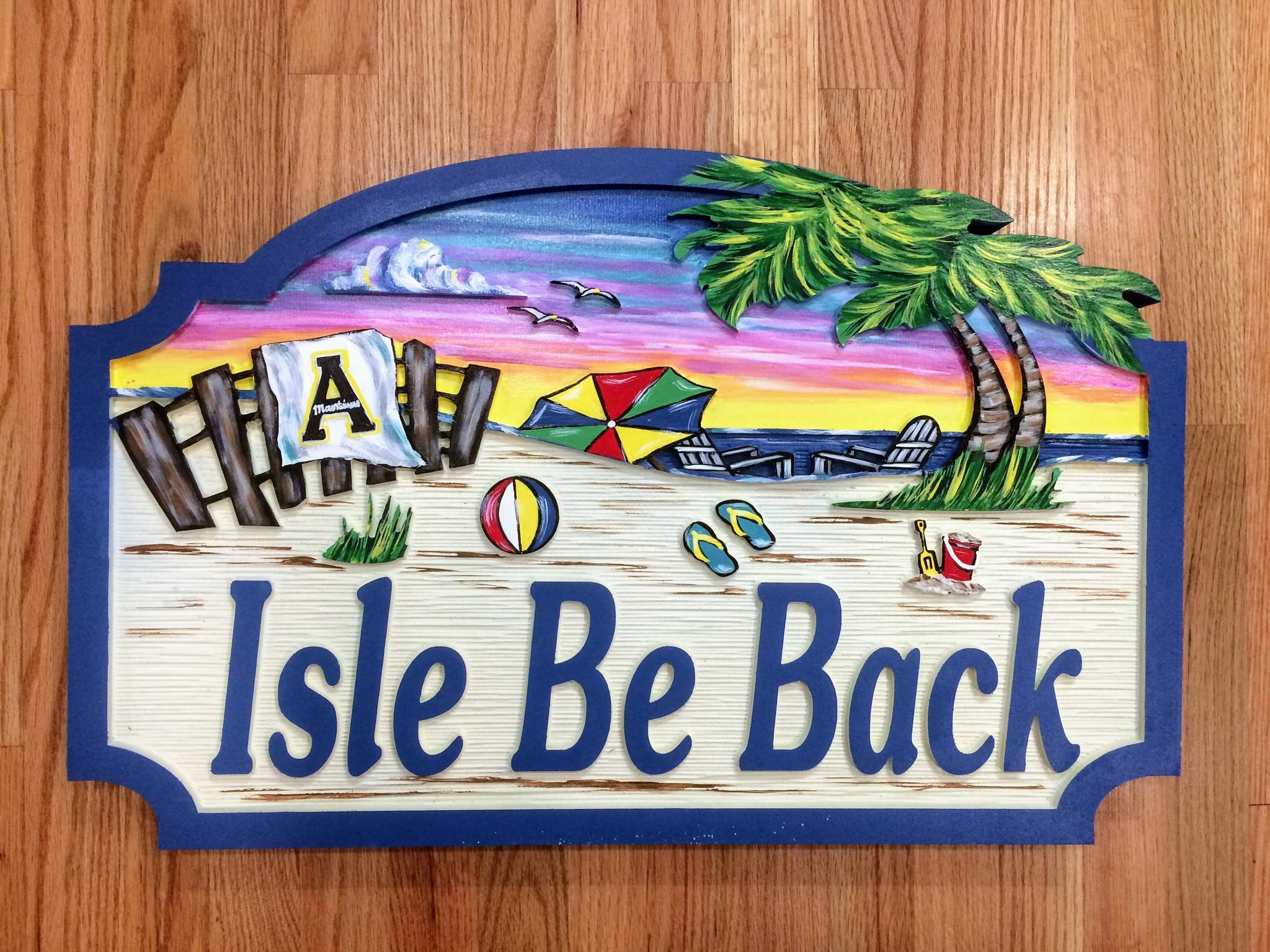 Beach House Signs with Fence, Personalized House Signs (BH17)