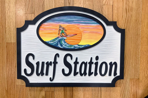 Beach House Signs with Surfer Personalized House Signs BH14