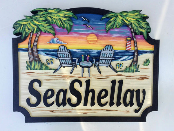 Beach House Signs, with Chairs, Personalized House Signs (BH28)