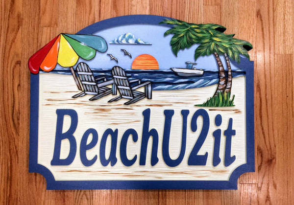 Beach House Signs with chairs , Personalized House Signs BH09