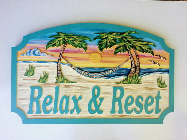Beach House Signs with Hammock, Personalized House Signs BH07