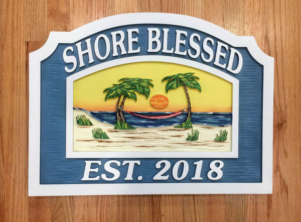 Beach House Signs - Hammock, Personalized House Sign BH45