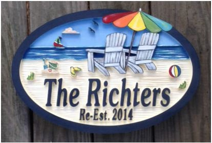Beach House Signs with Chairs, Personalized House Signs (BH22)