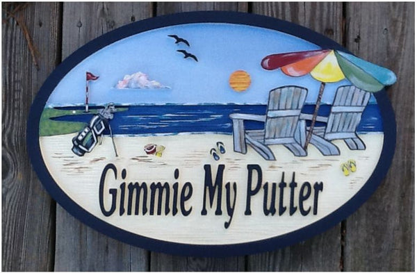 Beach House Signs, Golf, Personalized House Signs (BH16)