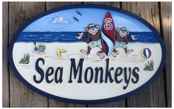 Beach House Signs - Monkey, Personalized House Signs (BH21)