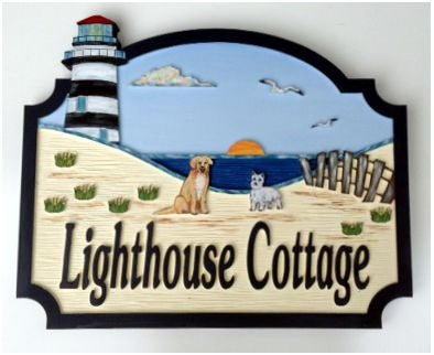 Beach House Signs - Lighthouse, Personalized House Signs (BH19)