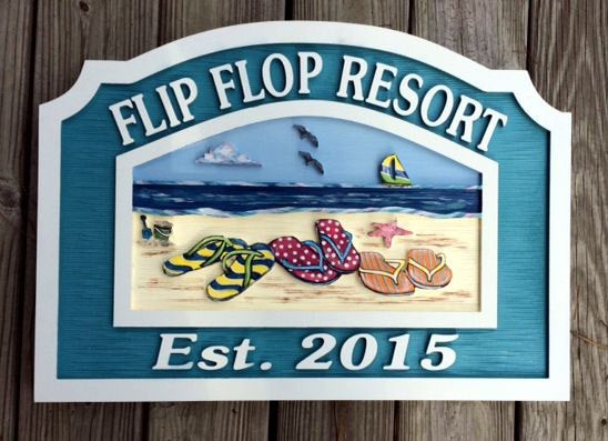 Beach House Signs with Flip Flops, Personalized House Signs BH05