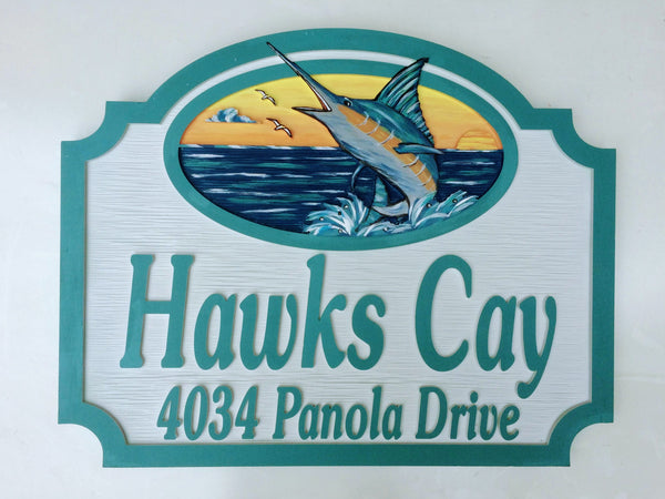 Beach House Signs - Marlin, Personalized House Signs, (BH46)