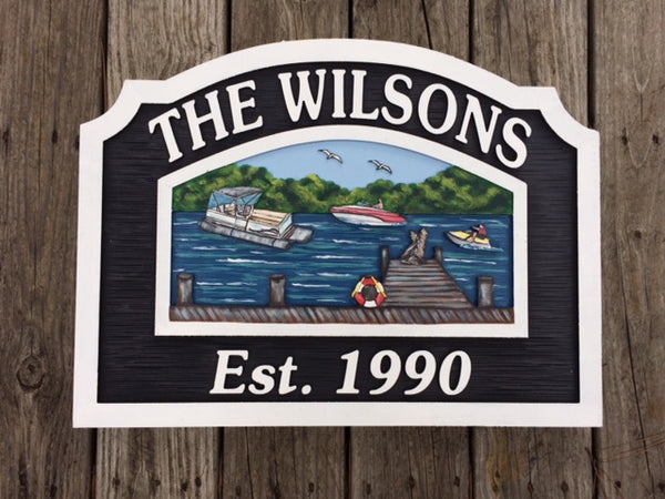 Lake House Sign with Dock. Personalized House Sign (001)